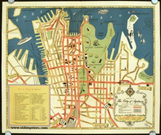 Sydney Tourist Map. Map title: Guide Map of The City of Sydney Including King';s Cross. AUSTRALIA...