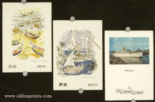 S. S. Himalaya. / Feluccas in Red Sea. / Fishing Boats - Portugal. THREE MENUS. P, O / MEDITERRANEAN
