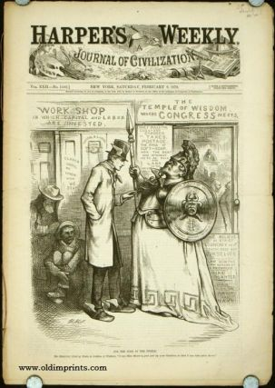 """Harper's Weekly. COMPLETE ISSUE, including centrefold Rapid Transit in New York and Front cover illustration: For the Good of the People. Mr. Mercury (God of Trade, to Goddess of Wisdom). """"I say, Miss Minerva, just put up your Shutters, so that I..."""
