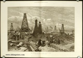 The Petroleum Oil Wells at Baku, on the Caspian. AZERBAIJAN - BAKU / OIL