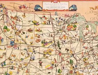 A Good Natured Map of the United States - and a guide to the Wonderful West. Compliments of Greyhound and Union Pacific Stages.