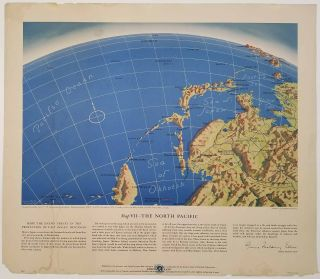 Map VII - The North Pacific, Map VI - The Southwest Pacific, Map V - Southeastern Asia, Map IV - The Western Front, Map III - Italy & South France. Lot of Five Maps