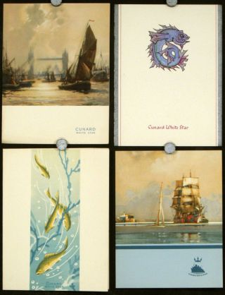 Cunard White Star Four Menus for May 1950. CUNARD WHITE STAR