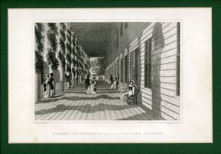 Piazza of Congress Hall, Saratoga Springs. NEW YORK - SARATOGA SPRINGS - 1830