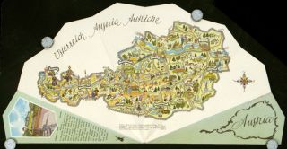 Austria. AUSTRIA - FOLDING FAN WITH PICTORIAL MAP, Axel Bergmann, design.