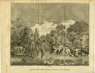 Manner of Fishing of the Savages of Cape Diemen. / Savages of Cape Diemen Preparing Their Meal./ A Double Canoe of New Caledonia, La Catarmaran of Cape Diemen, and A Canoe of Santa Cruz or Egmont Island. THREE ENGRAVINGS. AUSTRALIA - TASMANIA.