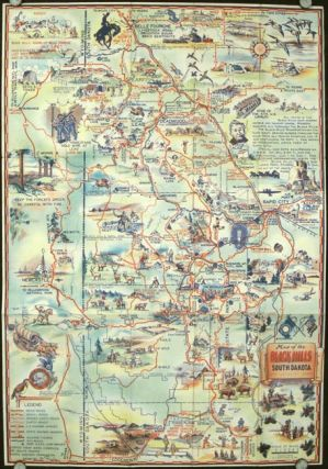 Map of the Black Hills of South Dakota. The Sunshine State. SOUTH DAKOTA