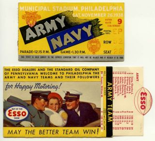 1938 Army v. Navy Football Ticket Stub plus sliding souvenir Team Member ID. FOOTBALL