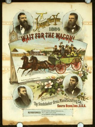 A Happy New Year 1884. Wait for the Wagon! Francis H. AUTOMOTIVE - STUDEBAKER - SHEET MUSIC Brown.