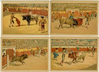 Bullfighting. Four chromolithgraphs. BULLFIGHTING