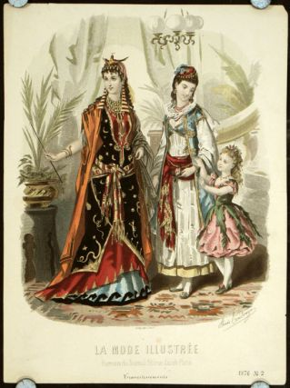 Hand colored engraving from La Mode Illustree. Cravestissements. 1870s FASHION