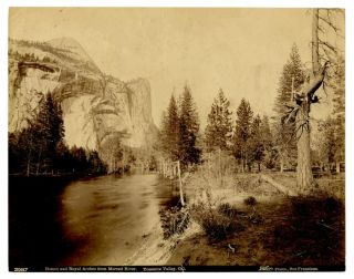Domes and Royal Arches from Merced River. Yosemite Valley, Cal. CALIFORNIA - PHOTOGRAPH -...