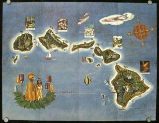 This map of Hawaii - the 50th State presented to you with the compliments of Aloha Airlines. ALOHA AIRLINES.
