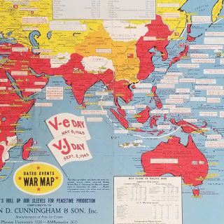Dated Events War Map. V-e Day May 8, 1945. V.J Day Sept. 2, 1945.