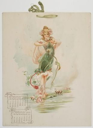 1906 Calendar with Flower Nymphs. ART NOUVEAU.