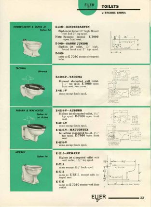 Eljer Plumbing Fixtures Condensed Trade Catalogue. MID-CENTURY PLUMBING AND HEATING