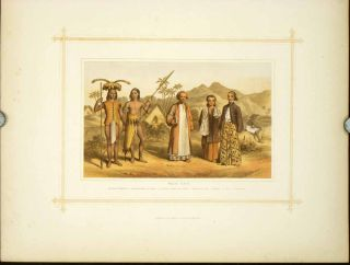 Malay Race. Natives of Borneo: 1. Saghai Dyak. N.E. Coast. 2. Loondoo Dyak. S.W. Coast. ...