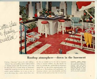 Rooms for Better Living in Basement and Basementless Houses. MID-CENTURY FLOOR COVERINGS