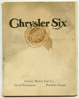 Chrysler Six Motor Cars. CHRYSLER.