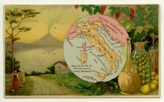 Italy. Arbuckle Bros. Coffee Co. trade card: map and vignette illustrations. ITALY