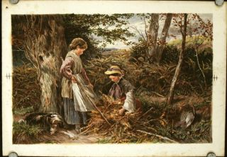 Untitled print of two young girls, with their lounging dog, gathering bracken. BIRKET FOSTER