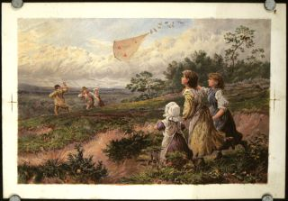 Untitled print of Kite Flying. BIRKET FOSTER.