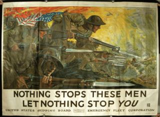 Nothing Stops These Men Let Nothing Stop You. WORLD WAR I. - ORIGINAL VINTAGE POSTER