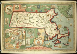 Picture Map of Massachusetts. MASSACHUSETTS