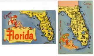 Come to Florida. TWO POST CARDS. FLORIDA