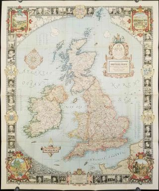 A Modern Pilgrim's Map of the British Isles or More Precisely The Kingdom of Great Britain and Northern Ireland and The Irish Free State. BRITISH ISLES - ENGLAND / SCOTLAND / IRELAND / WALES.