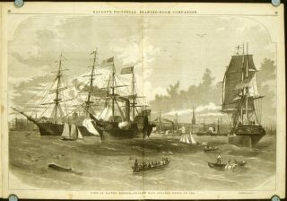 View in Boston Harbor. - English Mail Steamer Going to Sea IN COMPLETE ISSUE OF BALLOU'S...