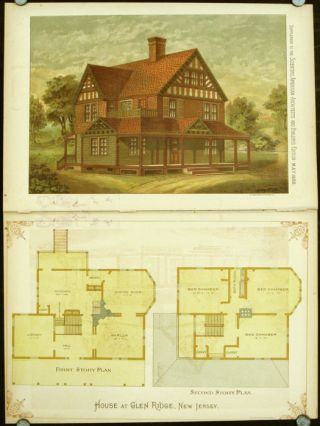 House at Glen Ridge, New Jersey. AMERICAN ARCHITECTURE / CHROMOLITHOGRAPH