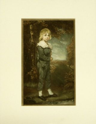 Pair of untitled prints - Boy in Blue / Girl in White. MEZZOTINT