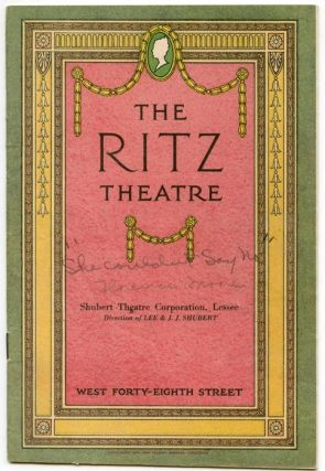 "Ritz Theatre. ""She Couldn't Say No"" (Program). VINTAGE THEATRE PROGRAM, B. M. Starring Florence..."