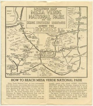 Map and Guide to Mesa Verde National Park. Follow the Scenic Southern Highway through the Rockies.