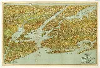 View of New York and Vicinity showing Good Automobile Roads. NEW YORK - BIRD'S EYE VIEW PANORAMA