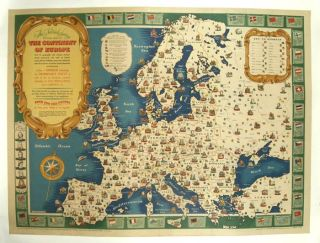 The National Savings Picture Map of the Continent of Europe with its geography and natural...