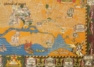 A Map of Berkeley, Oakland, & Alameda. Pictorial envelope title:This is a Section of the Map of Alameda County showing Some of the Early Histories of Oakland, Berkeley, Alameda and Environs with Special References to the Flora & Fauna of this most colorfu