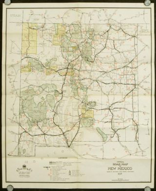 "Official Road Map of New Mexico ""Land of Enchantment"" 1937. Showcasing U.S. Highways and Principal State Roads. Motor Patrolled."