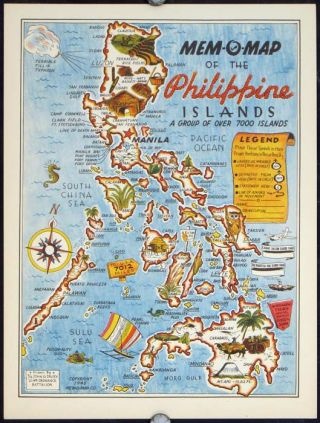 Mem-O-Map of the Philippine Islands. A Group of Over 7000 Islands. PHILIPPINE ISLANDS