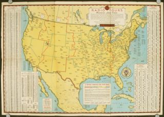 World Wide Radio Tours. Maps Showing Radio Stations of United States Canada & Mexico and Principal Short-Wave Stations of the World by Location Call Letters & Kilocycles.