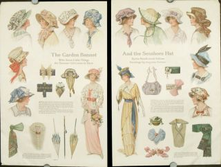 The Garden Bonnet And the Seashore Hat. With Some Little Things the Summer Girl Loves to Have. 1910s FASHION - HATS.