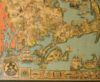 Map of Massachusetts The Old Bay State. A Picture History Map.