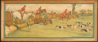 Pair of Fox Hunting Prints, framed.