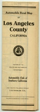 Automobile Road Map of Los Angeles County California. CALIFORNIA - LOS ANGELES - ROAD MAP