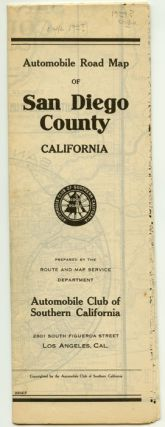 Automobile Road Map of San Diego County California. CALIFORNIA - SAN DIEGO - ROAD MAP