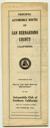 Principal Automobile Routes of San Bernardino County California. CALIFORNIA - ROAD MAP