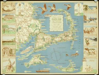 Decorative Map of Cape Cod. The Reaches of the Cape --- Nantucket, & Marthas Vineyard....