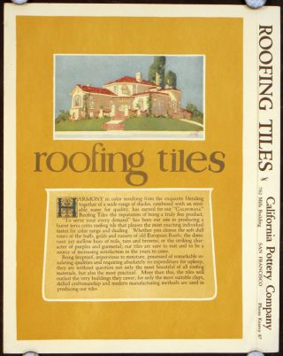 Roofing Tiles. 1920s CALIFORNIA CLAY TILES