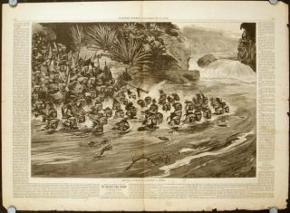 The Zulu War - Zuolus Crossing a River. Supplement to Harper's Weekly. A Journal of...